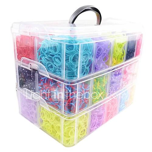 Rainbow Loom Big Size 3 Layers Multicolor DIY Rubber Band (12000 Pcs) And Conne