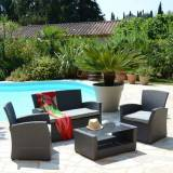 Eminza Salon de jardin Ibiza Anthracite/Gris clair - 4 places